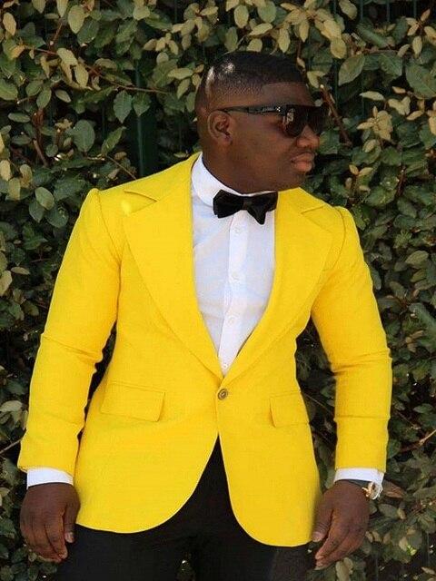 8ce21cb48 Bright Yellow Suit Men Blazer 2 Piece Groom Wedding Men Suit With Pants Prom  Formal Slim