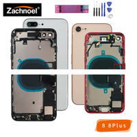 Full Back Housing for iPhone 8 Plus 8Plus Cover Battery Door Case Middle Frame Chassis Body with Flex Cable Replacement Parts