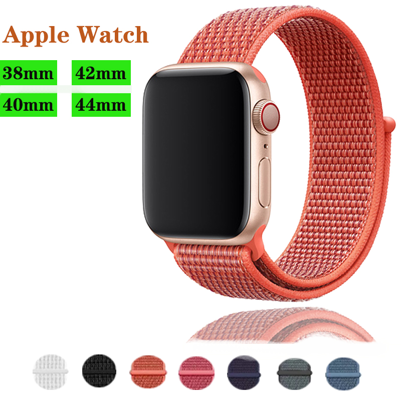 Nylon wrist bracelet for apple watch band 4 44mm 40mm Replacement Sport Strap for iwatch Series 3 2 1 38 42mm band accessories in Watchbands from Watches