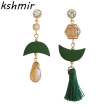 2018 fashion earrings green wood tassel asymmetric water droplets female stud wholesale
