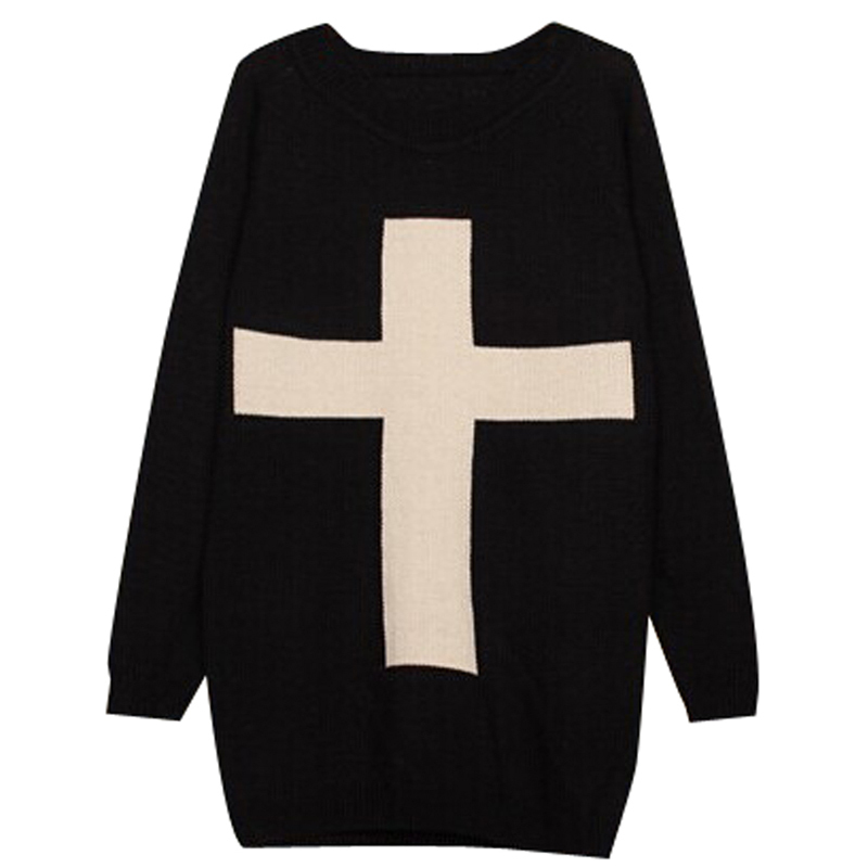 New Fashion Womens Cross Pattern Knit Sweater Outerwear Crew Pullover Tops Freeshipping