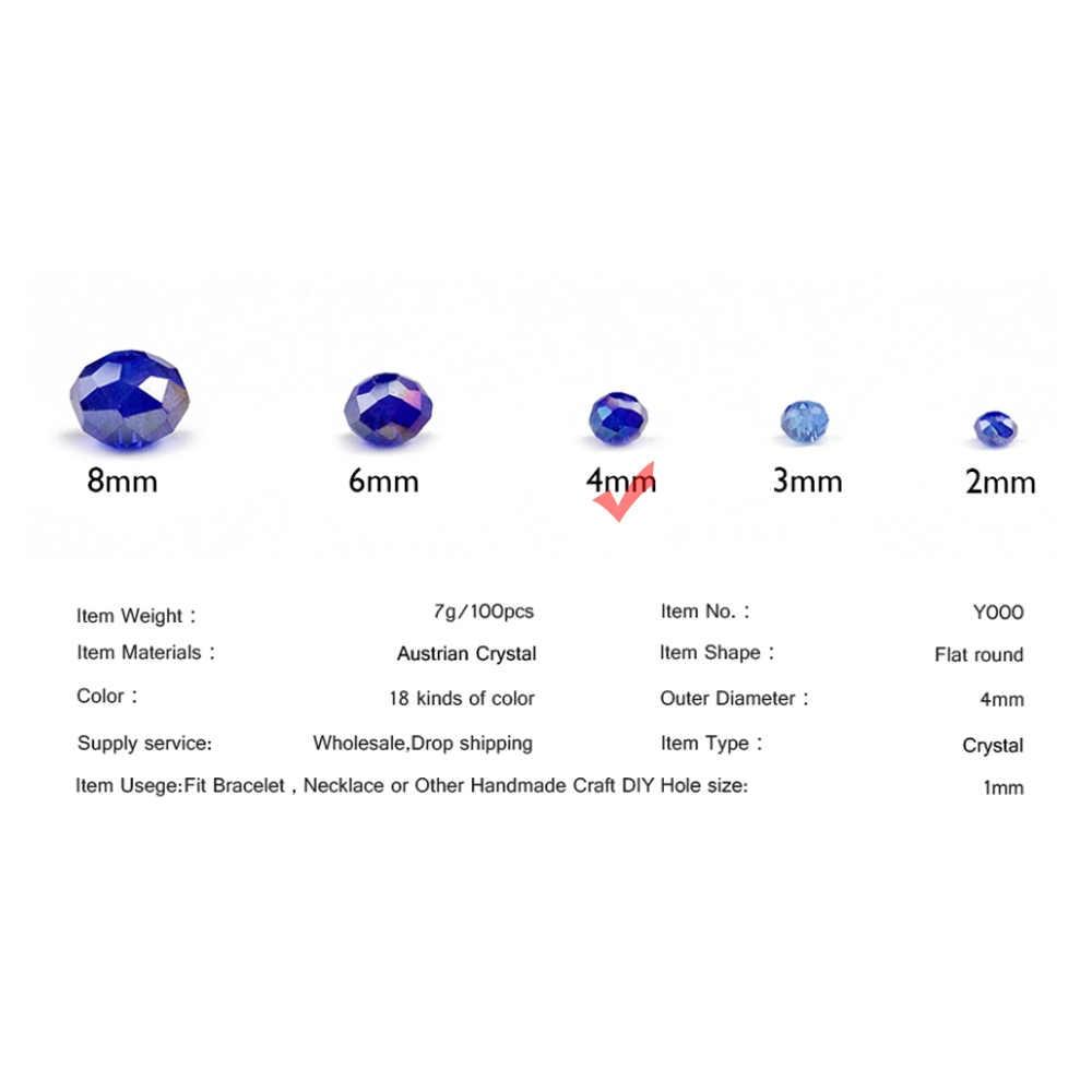 WLYeeS Österreichischen Kristalle 4mm Faceted Flache Runde Perlen 100 stücke Runde Glas Lose Perlen halskette armband Schmuck, Die DIY ball