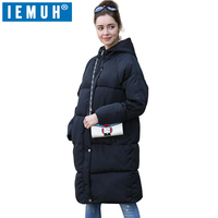 IEMUH Brand Women Casual Patchwork Hooded Coat Black Gray Loose Women Plus Size Long Outerwear Parkas