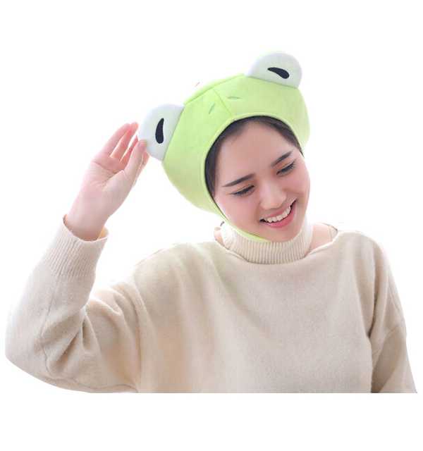 Animal Cap Frog Cosplay Props Accessories Plush Head Halloween Cosplay party animal Plush head Cap Cute Green Hat