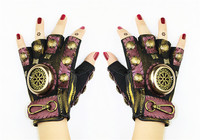 New Steampunk Gear Leather Punk Gloves Vintage Gothic Unisex Cosplay Gloves Medieval Accessory Half Finger Gloves