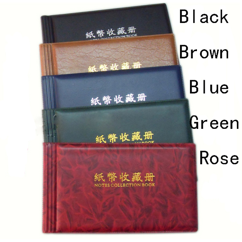 60 Pockets Paper Money Collection Album Leather Holders Storage Book Black