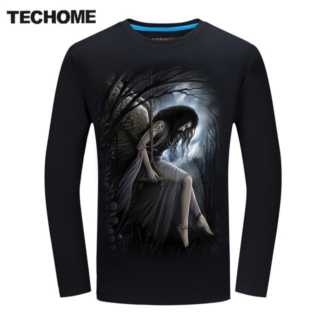 TECHOME Mens Plus Size T Shirts 6XL 3D Dark Angels Print T