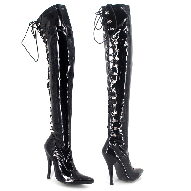Unisex Dancing Boots 36 - 46 Multi Color Cross Straps Sexy Patent Leather Over The Knee Thigh High Ladies Boots Pointed Toe 2016 20cm pole dancing sexy ultra high knee high boots with pure color sexy dancer high heeled lap dancing shoes