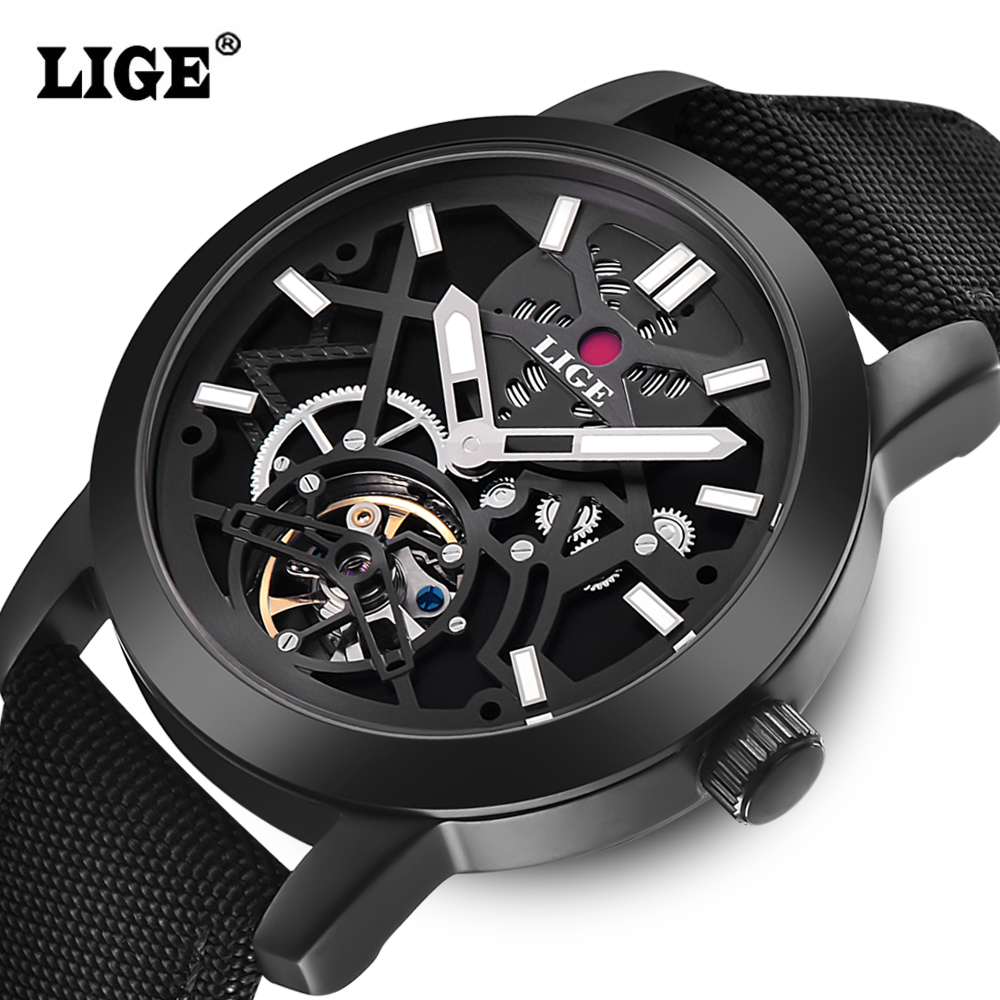LIGE Brand Men's watches Automatic Mechanical Watch Men sport Military Wrist watches Man Nylon Leather strap Black Clock Relojes vitek vt 1810