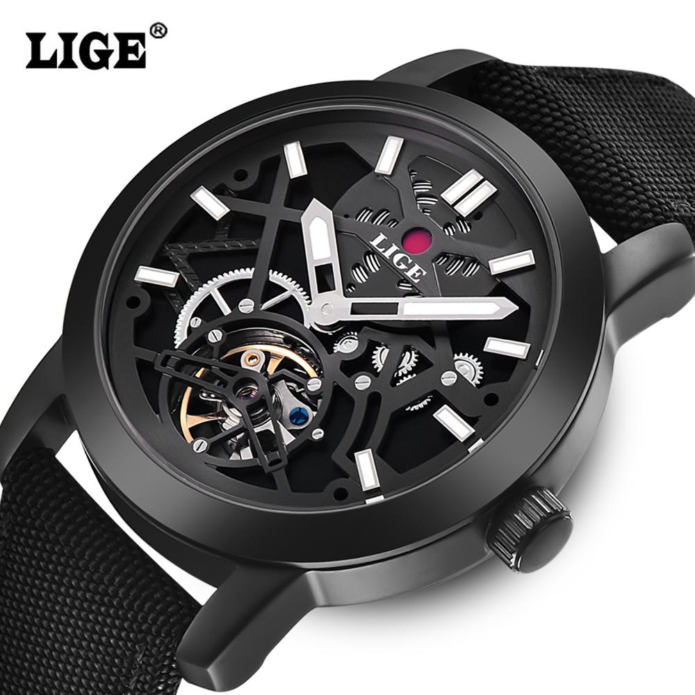 Prix pour LIGE Marque Hommes de montres Automatique Mécanique Montre Hommes sport Militaire montres Homme Nylon bracelet En Cuir Noir Horloge Relojes