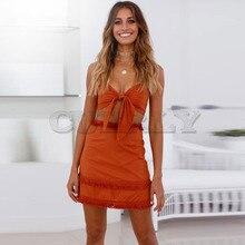 Cuerly Boho Two Pieces Set Women Tassel Bow Casual Beach Summer Dress Spaghetti Strap Sexy Club Bodycon Wrap Mini Party Dress L8