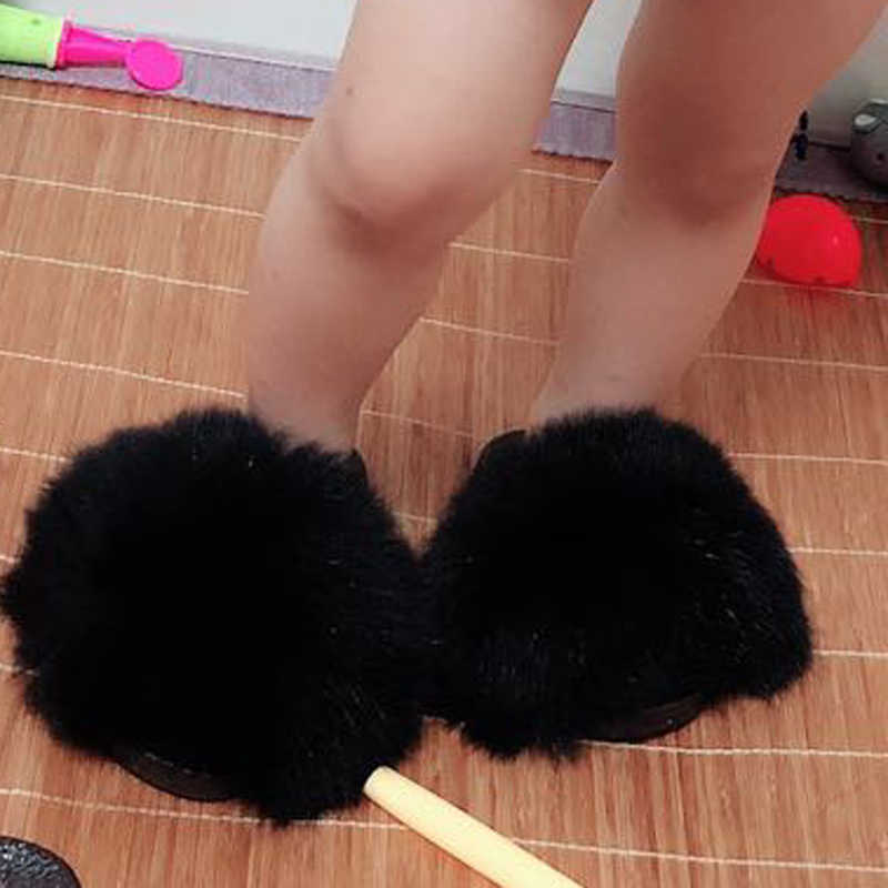 2019 Rass ple Wholesale Kids Real Fox Slippers Cute Raccoon Slides Fluffy Slippers Toddler Baby Girls Shoes Summer Flip Flops