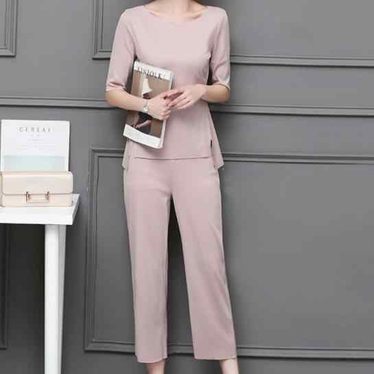 M-5xl 夏ツーピースセット女性プラスサイズの半分スリーブトップとパンツスーツピンク黒オフィスエレガントな女性のセット 2020 AE489