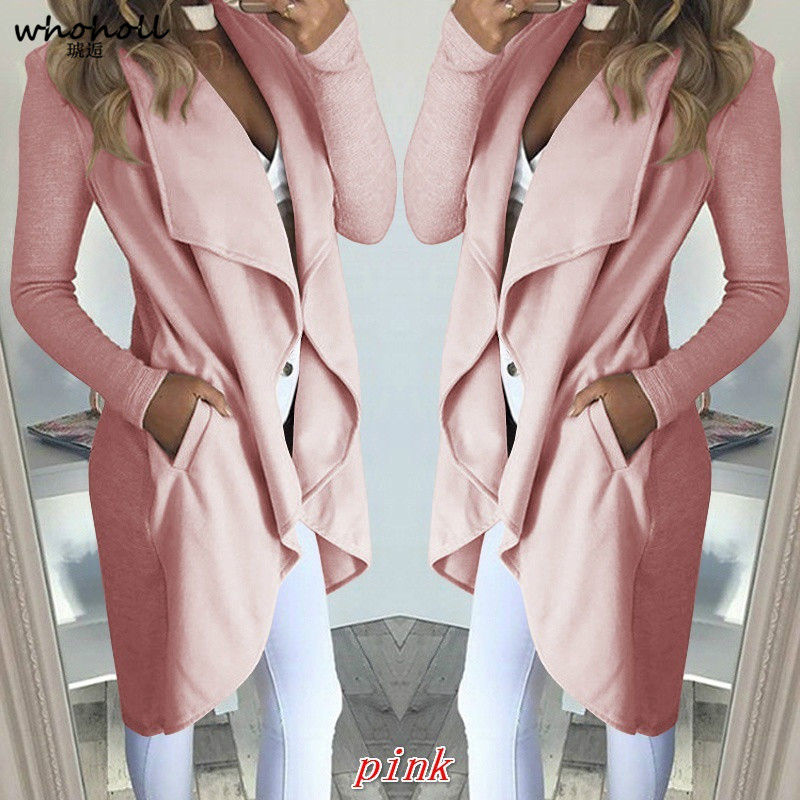 WHOHOLL style  new andcute open stitch slim solid woman trench spring and autumn turn down collar female long