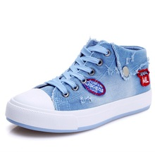 Fashion High Help Canvas Shoes Female lace-up Breathable Women Casual