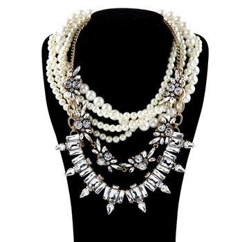 Collar de cuentas exageradas de múltiples cadenas, collar de perlas de cristal austríaco creado, joyería de fiesta de lujo para mujeres 2015