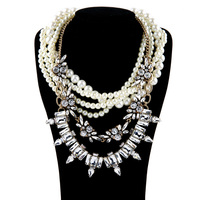Beaded Exaggerated Multichain Necklace Flashing Austrian Crystal Pearl Necklace 2015 Ladies Luxury Party Jewelry