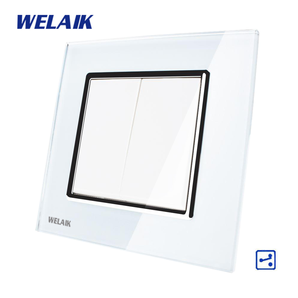 WELAIK Push Button 2Gang2Way Switch Manufacturer of Wall Light Switch Black White Crystal Glass Panel AC 110-250V A1722W/B