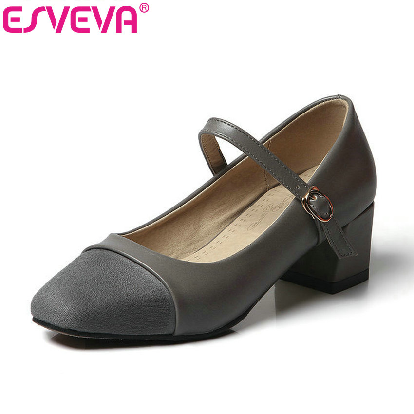 ESVEVA 2017 Women Pumps Square Med Heel Spring Autumn Shoes Simple Mary Janes Pumps Square Toe Wedding Women Shoe Big Size 34-43 vinlle 2017 women pumps college style square med heel vintage slip on pu leather shoes casual round toe girl shoes size 34 40