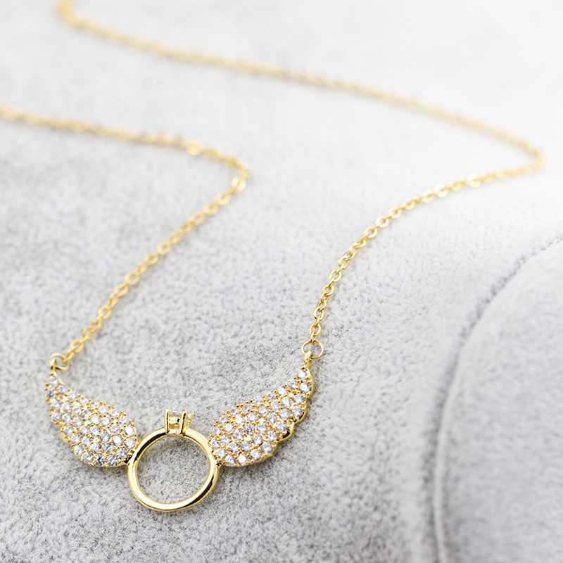 Simple Newest fashion jewelry accessories gold color wring  shape with crystal  chain choker necklace for couple lovers'  N369