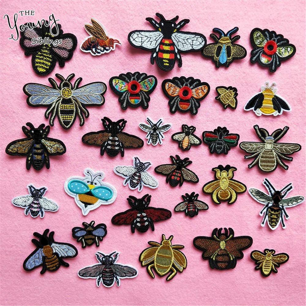קריקטורה דבורה תיקון רקמת חרקים מדבקות פאייטים הורנט ברזל על תיקוני בגדי DIY דקור בד שמלת אביזרי שקיות