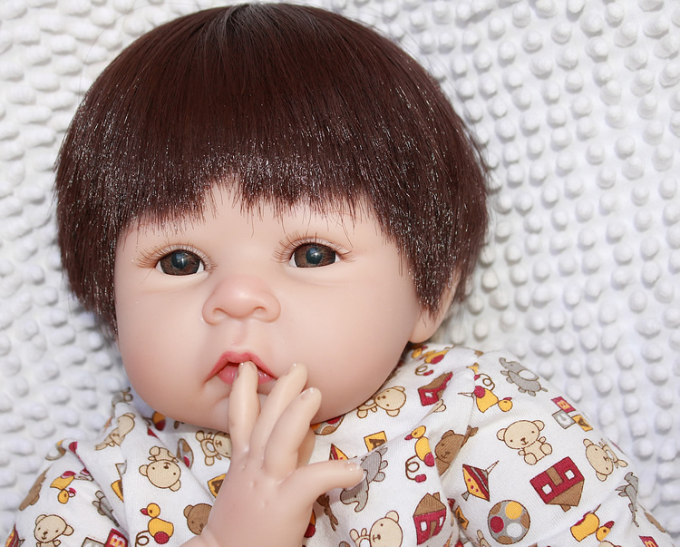 22'' 55 cm  lifelike reborn baby doll rooted human hair funny doll  Christmas gift for boys and gifts 2015 new design soft silicone reborn baby doll rooted human hair fashion doll christmas gift