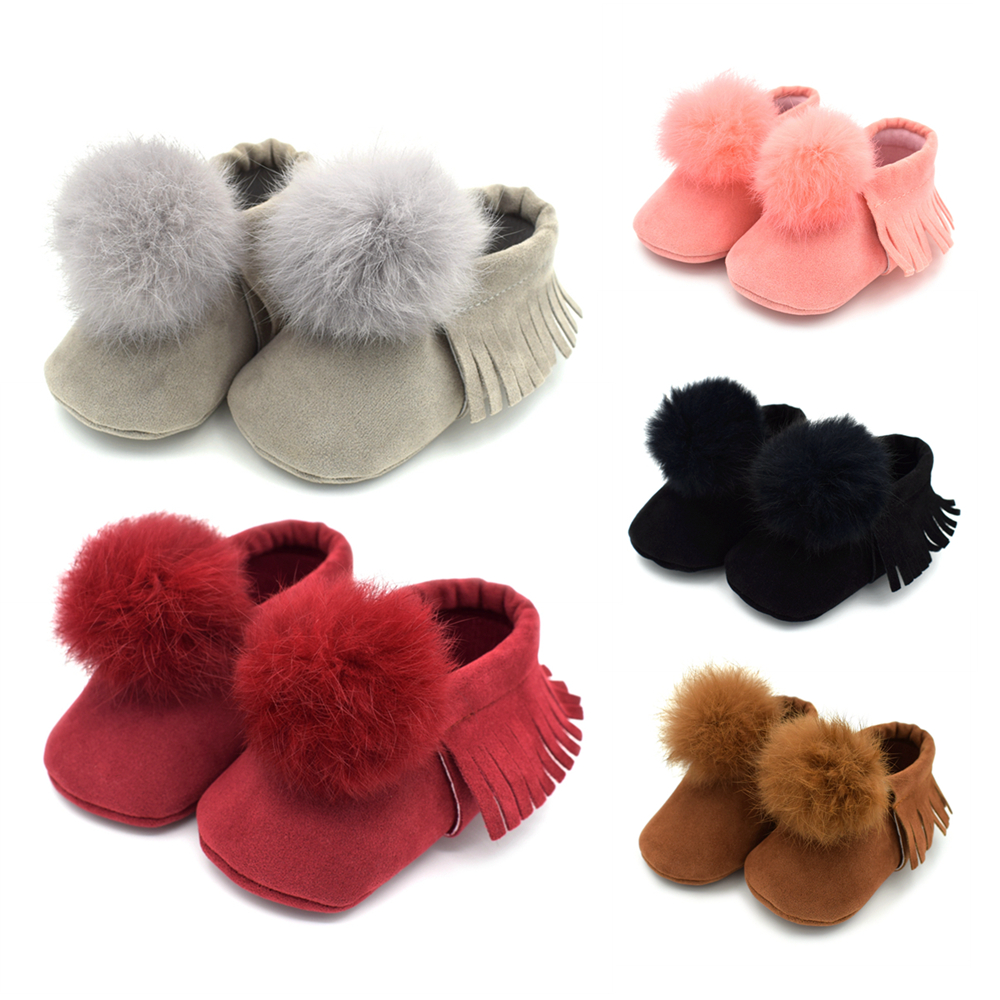 0-18M Newborn Baby Girls Boots Infant Girl Baby Prewalker Shoes Boots Soft Sole Tassle Ball Shoes Boots