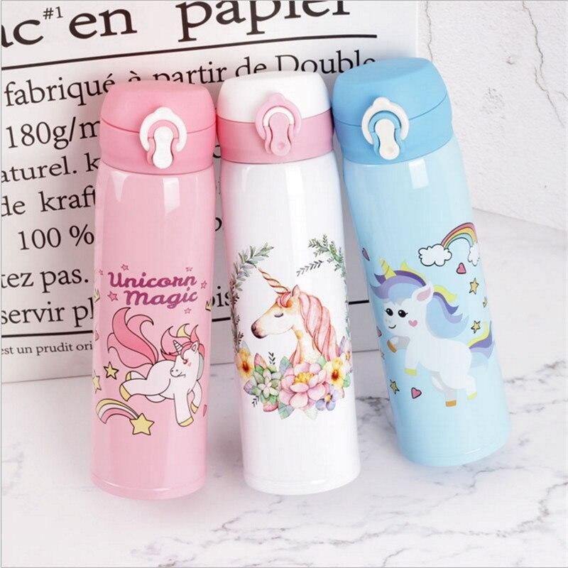 Botellas de agua 500 ml Capacidad agua potable dibujos animados unicornio Acero inoxidable aspiradora botella de agua niños regalo cocina, W