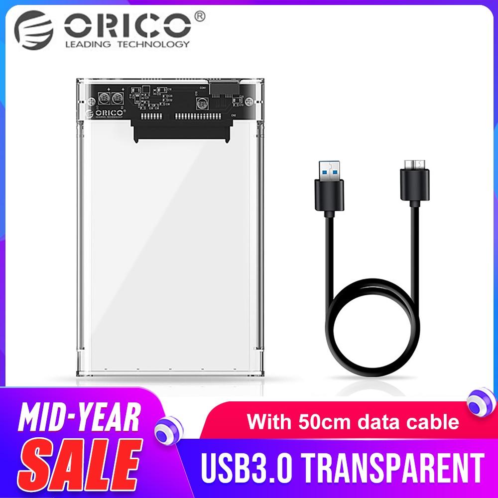 ORICO 2.5 polegada Disco Rígido Recinto Transparente USB3.0 TB Disco Rígido Recinto Caso HDD Suporte 2 7-9.5 milímetros HDD 2139U3