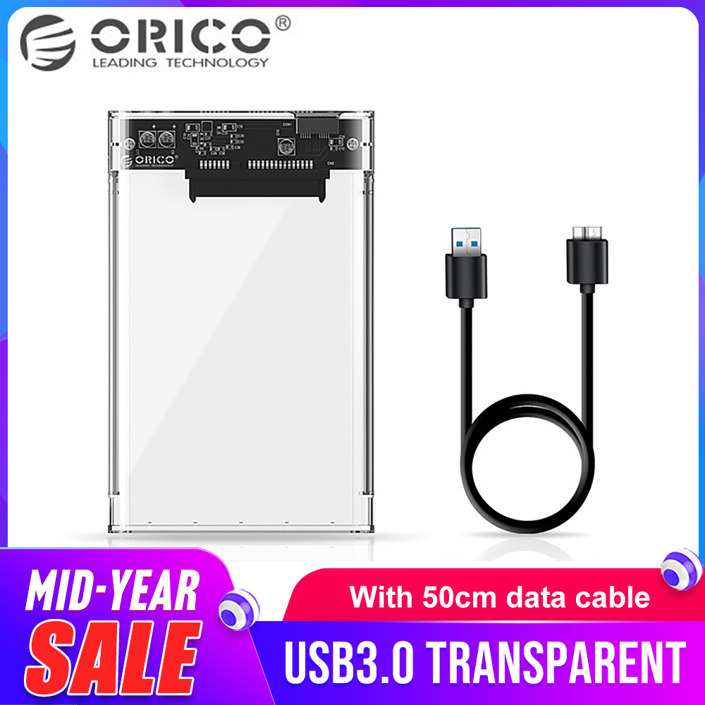 ORICO 2.5 Inch Hard Drive Enclosure Transparent USB3.0 HDD Case Support 2TB Hard Drive Enclosure 7-9.5 Mm HDD 2139U3