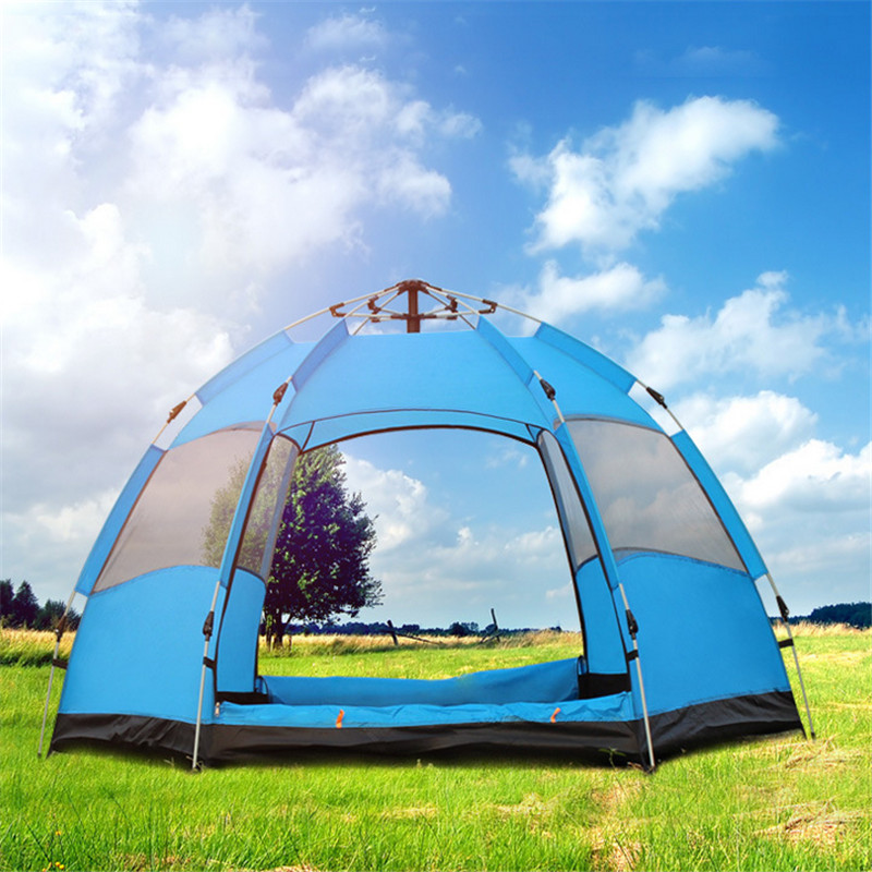 3-5 People Pop Up Tents Wind Water Proof Big Capacity 2 Layers Outdoor Camping Tent 14 5 11 2