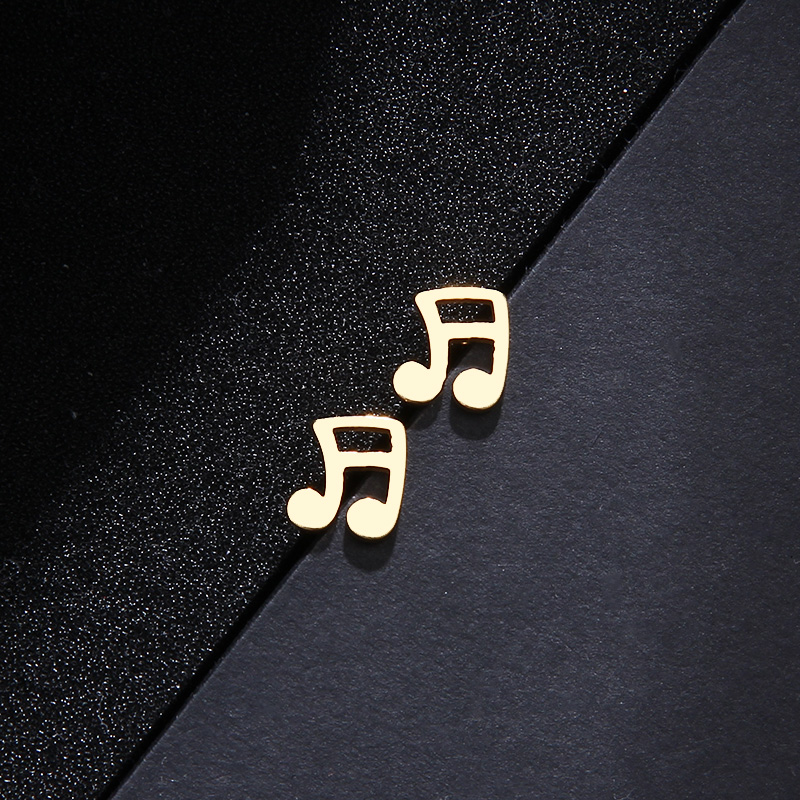 Stainless Steel Set Musical Notes Necklace Bracelets Earrings S551