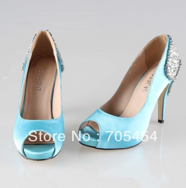 Bs374 Free Shipping P Toe Light Blue Satin Bridal Wedding Shoes Evening