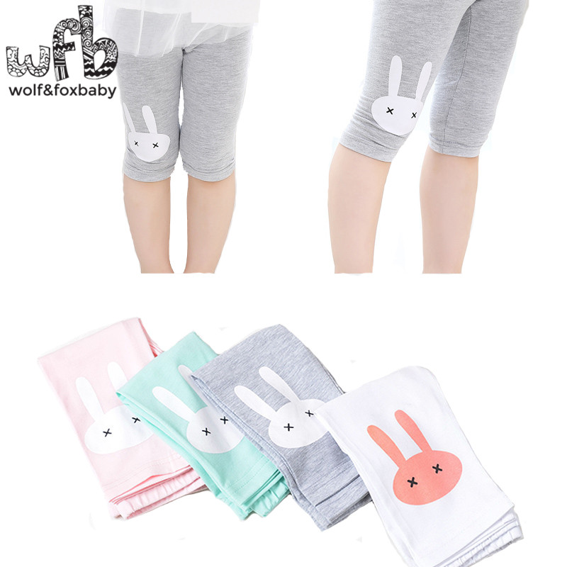 Retail 3-10years cotton cartoon footless girls knee length kid Five pants Cropped clothing kids leggings children's summer cool