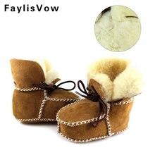 Зимняя обувь для маленьких мальчиков из овечьей кожи сапоги и ботинки девочек Младенцы теплые натуральный мех шерсть обувь д