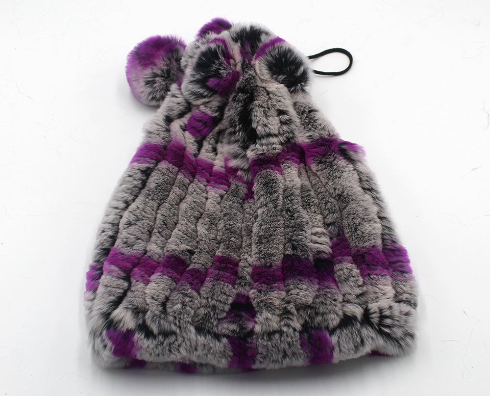 Womens Winter Hats Scarf Knitted Real Rabbit Fur Hat Natural fur Neck Scarf Girls Winter Warm Hat Beanies (15)