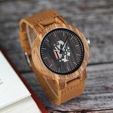 BOBO PÁJARO Reloj De Madera Modelo de la Cebra de Los Hombres Relojes de Cuarzo banda de Cuero Genuino Reloj de Pulsera relogio masculino B-H29
