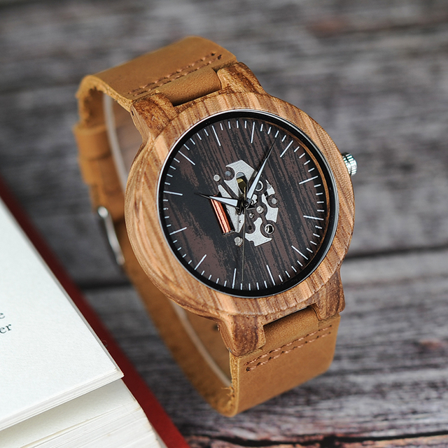 BOBO BIRD Watch Wooden Zebra Pattern Men Watches Quartz Genuine Leather band Wri