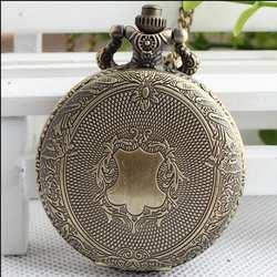 Винтаж бронза античная Щит мужчины и женщины ожерелье карманные часы и Брелок Сеть часы ppolk5445
