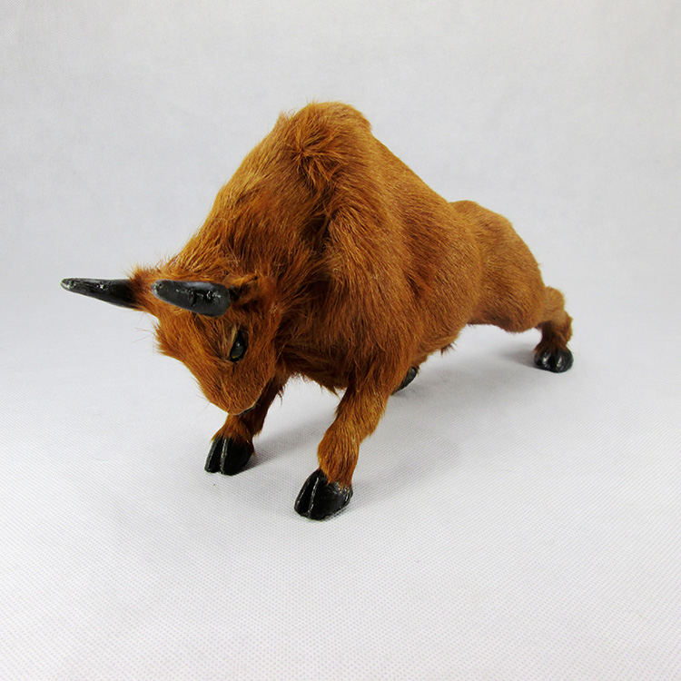 ФОТО creative simulation bull toy resin&fur yellow cattle doll gift about 31x9x16cm