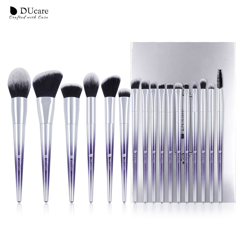 DUcare 9/17PCS Professional Makeup Brushes Set Powder Foundation Eye Shadow Blush Eyebrow Brush Cosmetic Make up Brushes Tool silver professional foundation brush fish scale makeup brushes pro foundation powder blush contour brush fishtail cosmetic tool