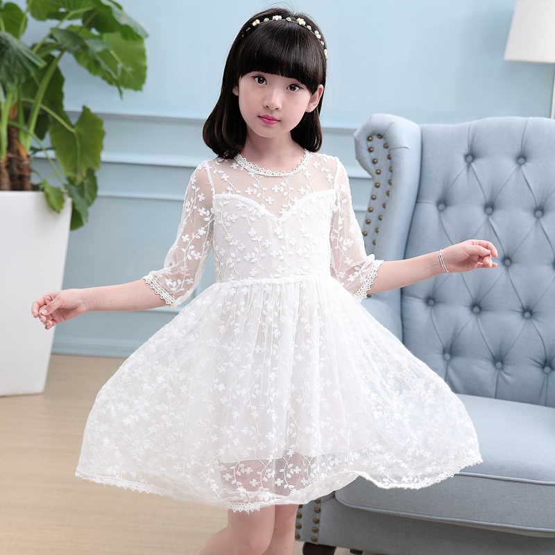 Flower Girl Dresses For Party And Wedding 2017 New Summer Evening Dress Children Clothes Kids Lace Princess Dress White Pink pink flower girl dresses for kids lace long sleeves wedding party dress 2017 summer princess prom gown new children clothes