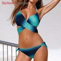2017 Sexy Gradient Bikini Set Criss Cross Bikini Brazilian Bandage Swimsuit Women Push Up Swimwear Wrap