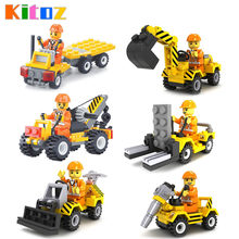 Kitoz City Construction Team Engineering Bulldozer Excavator Forklift Drill Crane Truck Building Block Toys Compatible with lego(China)