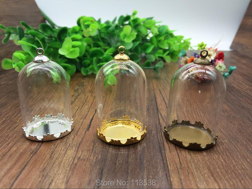 50sets/lot 38*25mm tube glass globe gole color crown base with 8mm metal cap glass vial  ...