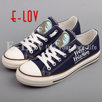 E LOV Printed Happy Halloween Canvas Shoes Low Top Casual Women Shoes DIY Halloween Christmas Gifts