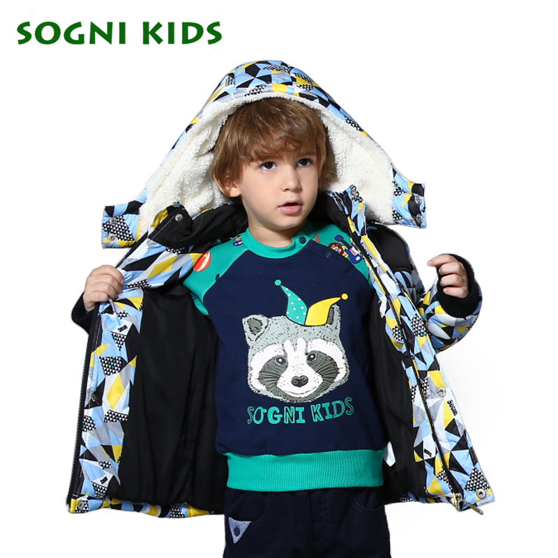 SOGNI KIDS Faux Fur Hooded Down Coats Toddler Zipper Jackets Splice Colors Boy Clothes New Winter and Autumn Fashion Coats