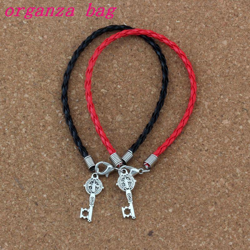 30pcs/lots Leather Bracelet Antique Silver Saint Benedict Medal Cross Key Religious Charms Pendants Bracelet(red & Black) B-351