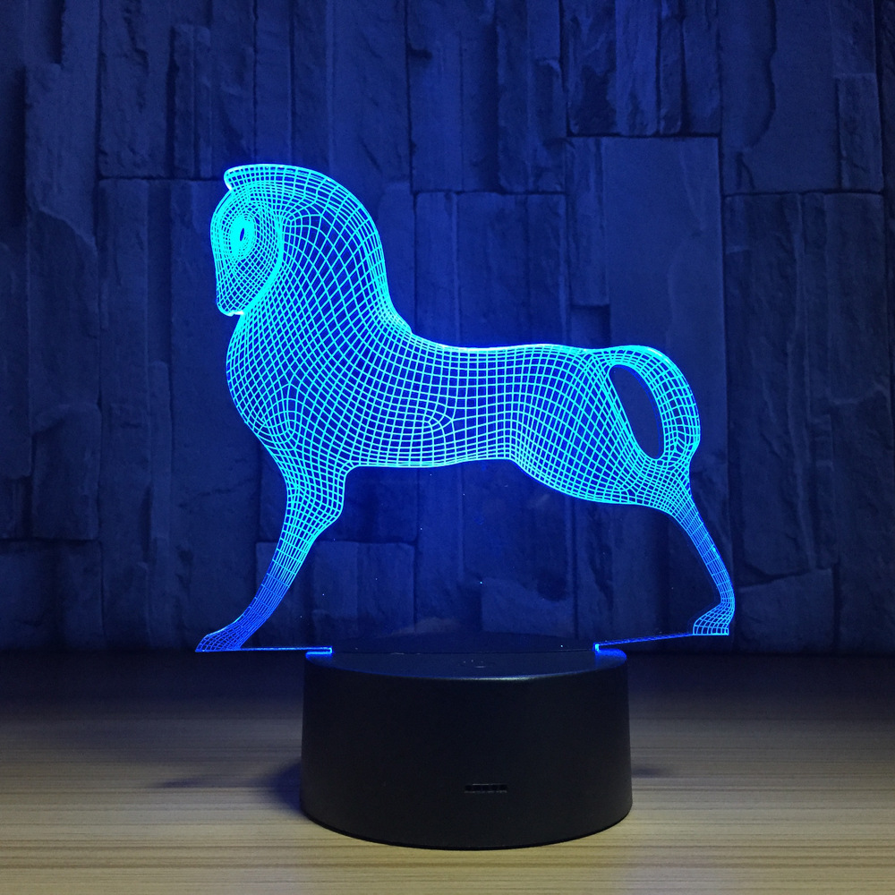Trojan 3d Lamp LED 7 Color Changing Horse Animal 3d Night Light Baby Sleepping Desk Table Lamp Home Decorations Best Gift