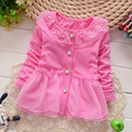 Infant girls solid cotton coat Mesh hollow out Flower pear Button O-neck Jacket Long sleeved outerwear Lovely Toddler baby coats